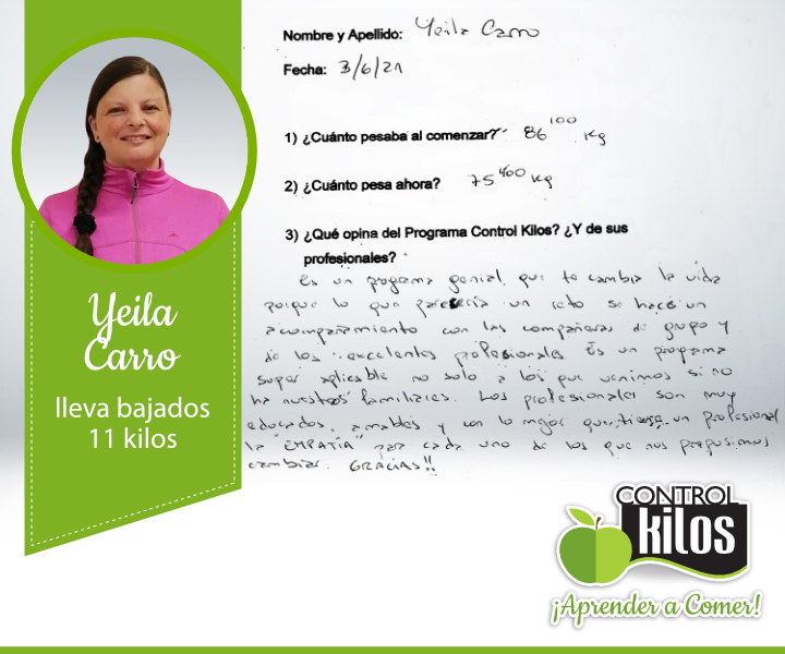 Yeila-Carro-11kg-testimonio